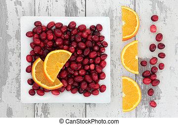 tranbär, och, apelsin, frukt