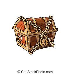 trancadas, acorrentado, madeira, entesoure tórax, vetorial, fechado