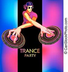 trance, feestje, poster