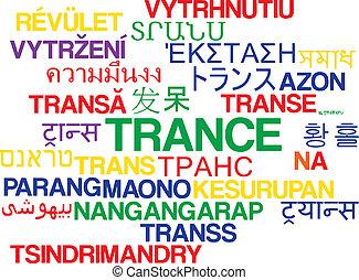 trance, multilanguage, wordcloud, fondo, concetto