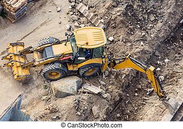 tranchée, seau, dos, jaune, site., above., construction, creuser, devant, tracteur, vue