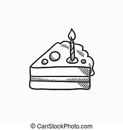 tranche gâteau, à, bougie, croquis, icon.