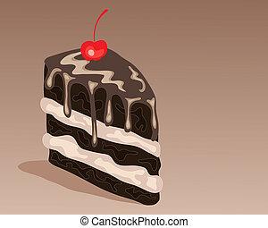 tranche gâteau, chocolat