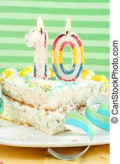 tranche gâteau, dixième, anniversaire