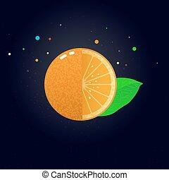 tranche orange, vecteur, juteux, illustration.