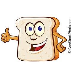 tranche pain, dessin animé, mascotte