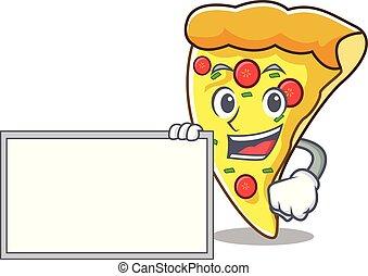 tranche pizza, caractère, planche, dessin animé
