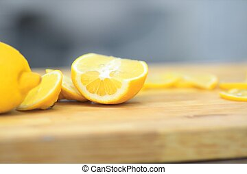 tranches, bois, up.cook, planche, orange, fin