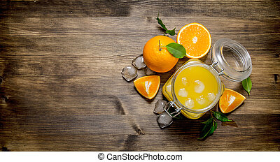 tranches, glace, jus, orange., orange, frais