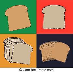 tranches, -, illustration, vecteur, pain blanc, icône