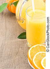 tranches, jus orange, bois, verre