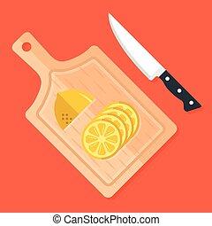 tranches, moderne, couper, knife., cuisine, outils, citron, concept., planche, planche, plat, lemon., nourriture, illustration, découpage, moitié, ingrédients, cuisine, bois, préparation, vecteur, conception