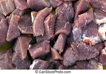 tranches, préparation, frais, haché, au-dessus, vue, porc, viande, cuisine