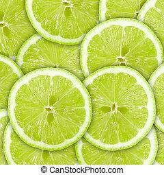 tranches, résumé, citrus-fruit, arrière-plan vert, chaux