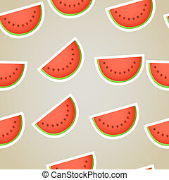 tranches, seamless, eau, fond, melon, rouges