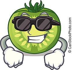 tranches tomate, caractère, vert, plaques, super, frais