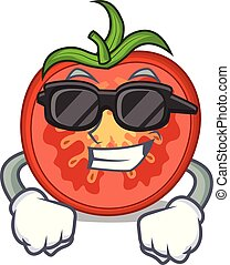tranches tomate, tranchoir, super, dessin animé, frais