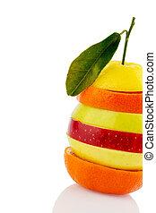 tranches, verschiedne, fruits