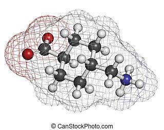 Tranexamic acid antifibrinolytic drug molecule. Prevents...