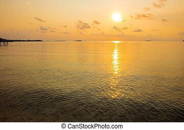 tranqüilo, seascape, de, pacata, mar, durante, amanhecer, em, alvorada