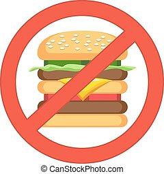 tranqueira, hamburger, insalubre, perigo, alimento, concept., alimento, rapidamente, comer, vetorial, label., illustration.
