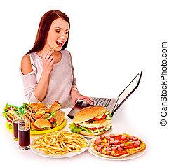 tranqueira, mulher, comer, alimento