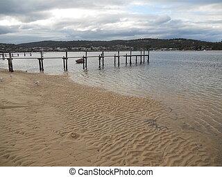 Tranquil beach shoreline