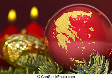 Tranquil christmas still life featuring a red bauble with the golden shape of Greece. (series)