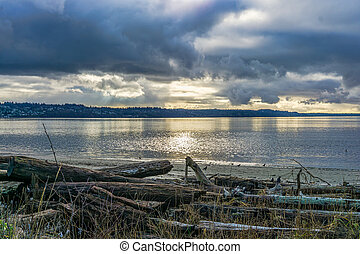 Tranquil Cloudy Day 2 - A view of the Puget Sound on a ...