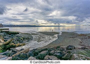 Tranquil Cloudy Day 6 - A view of the Puget Sound on a ...