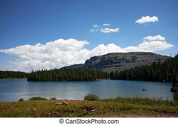 Tranquil evening lake in Flat Tops Wilderness