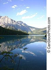 Tranquil Mtn Lake - A shot of emerald lake in alberta, ...