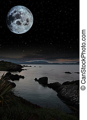 tranquil night time coastal irish view - night scenic view...
