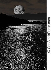 tranquil rocky kerry moonlit night view - scenic view in...