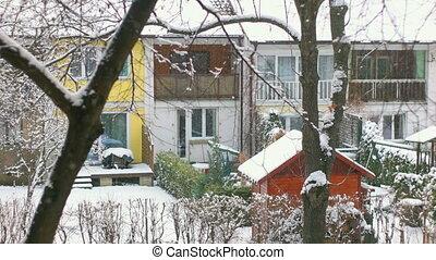 tranquil scène, het vallen, sneeuw