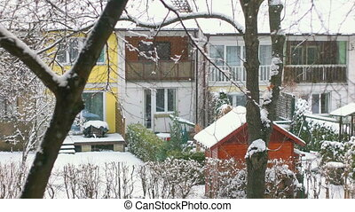 Tranquil Scene of Falling Snow - Snow falling down from the...