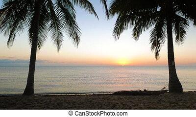 Tranquil Scene of Sun Rising Over the Sea - Sunrise in...