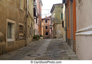Tranquil street in the city center of Izola