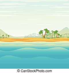 Tranquil Tropical Island in Blue Ocean Vector