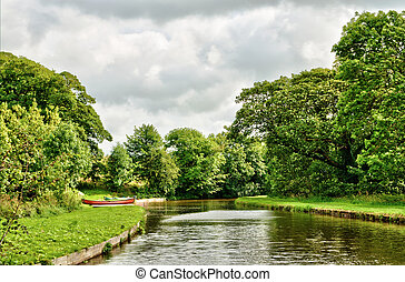 Tranquil view of the Lancaster Canal, England near Borwick...
