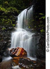 Tranquil waterfall idyllic Blue Mountains
