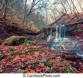 Tranquil waterfall scenery in the middle of autumn forest.