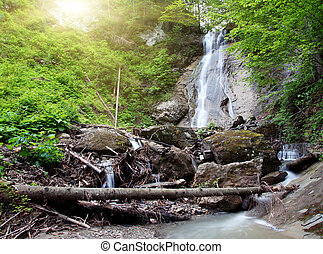 waterfall - Tranquil waterfall scenery in the middle of ...
