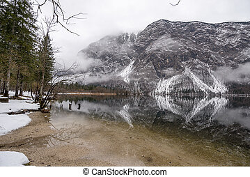 Tranquil winter lake in the mountains