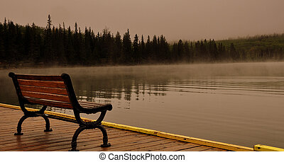 tranquility - cold early morning in pyramid lake jasper...