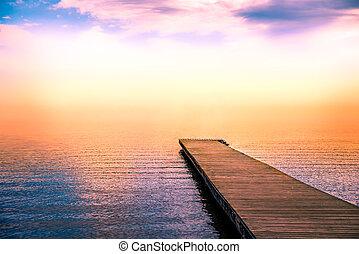 tranquille, brouillard, jetée, scène, mer