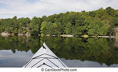 tranquille, kayaking, lac