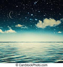 tranquillité, conception abstraite, marin, ton, vue