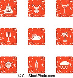 Tranquillity icons set, grunge style - Tranquillity icons ...