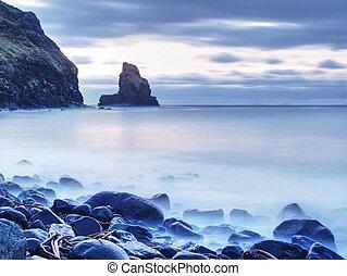 tranquillo, pietroso, baia, in, scozia, secondo, sunset.,...